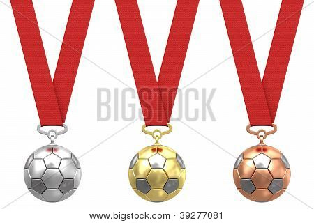 Gold, Silver And Bronze Soccer Ball With Red Ribbons