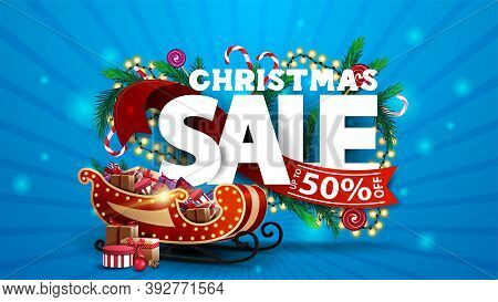 Christmas Sale, Blue Discount Banner With 3d Text Decorated Of Christmas Tree Branches, Candys And G