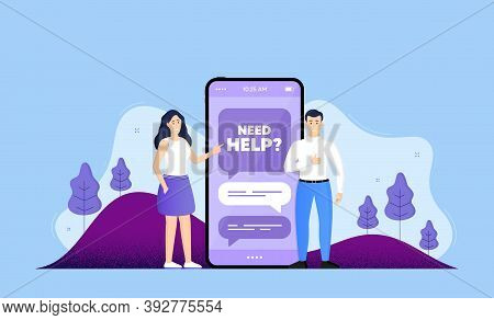 Need Help Symbol. Phone Online Chatting Banner. Support Service Sign. Faq Information. Need Help Cha