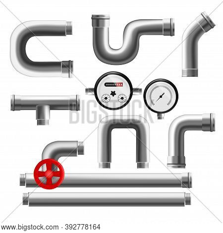 Realistic Detailed 3d Pipeline Elements Set For Water, Gas, Oil Or Canalization. Vector Illustration