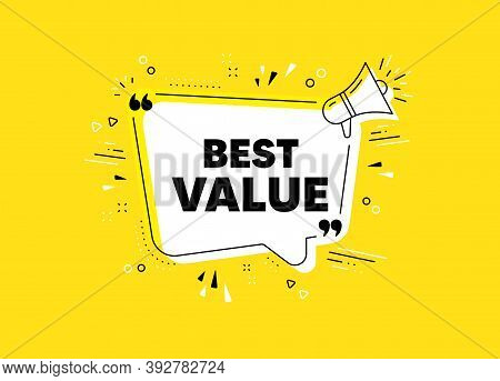 Best Value. Megaphone Yellow Vector Banner. Special Offer Sale Sign. Advertising Discounts Symbol. T