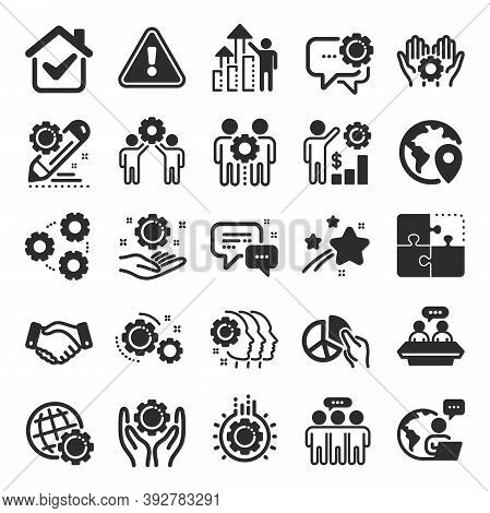 Employees Benefits Icons. Business Strategy, Handshake And People Collaboration. Teamwork, Social Re