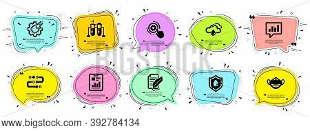 Science Icons Set. Speech Bubble Offer Banners. Vector Coupon Badge. Included Icon As Analytical Cha