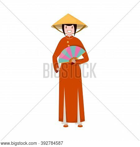 Isolated Object Of Vietnamese And Woman Icon. Collection Of Vietnamese And Girl Vector Icon For Stoc