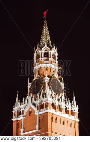 Spasskaya Tower Of Kremlin In Red Square, Night View. Moscow, Russia