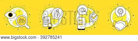 Money Bag, Spa Stones And Farsightedness Line Icons Set. Licence, Cell Phone And Deal Vector Icons.