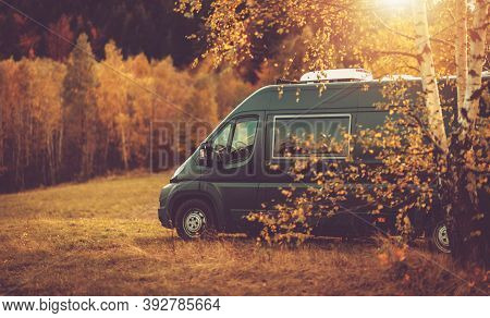 Autumn Fall Foliage Rv Recreational Vehicle Camper Van Road Trip And Scenic Camping In Beautiful Pla