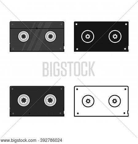 Vector Illustration Of Videotape And Reel Symbol. Graphic Of Videotape And Videocassette Stock Symbo