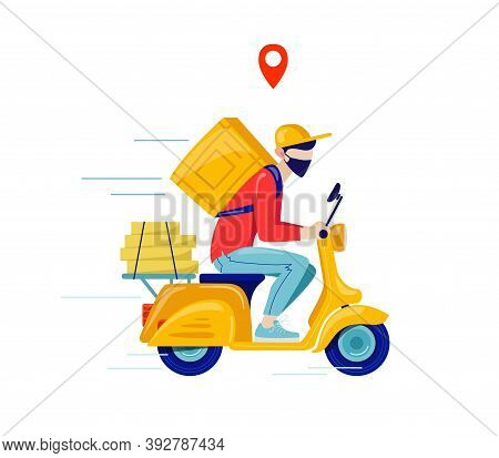 Online Delivery Contactless Service To Home, Office By Motorcycle. Online Order Tracking. Delivery S