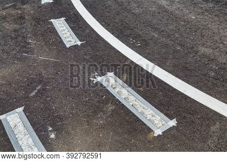 Preparing For Thermoplastic Traffic Line Painting, White Line Asphalt.