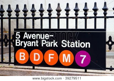 Fifth Avenue And Bryant Park Station, New York