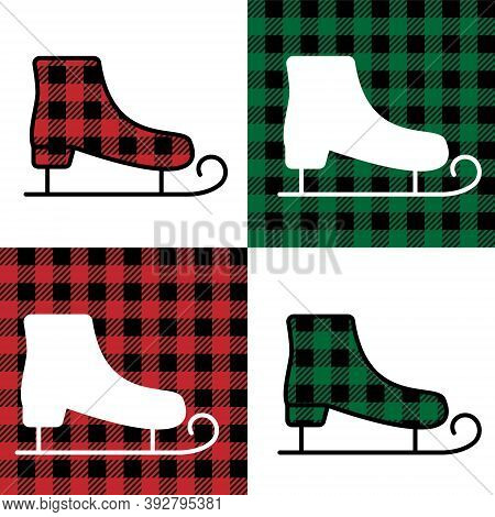 Skates Pattern At Buffalo Plaid. Festive Background For Design And Print