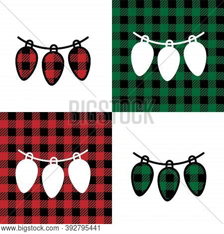 Garlandpattern At Buffalo Plaid. Festive Background For Design And Print