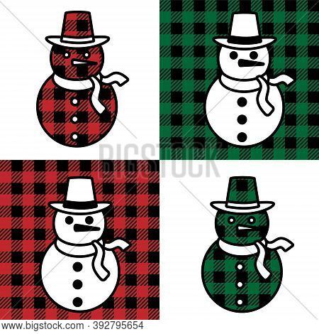 Snowman Pattern At Buffalo Plaid. Festive Background For Design And Print