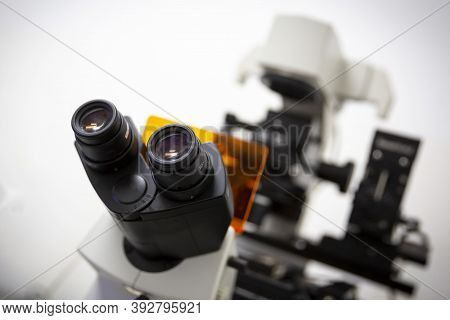 Microscope Lenses Of A Modern Equipment For Biological Research.