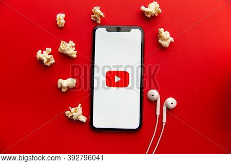 Tula, Russia - September 08, 2020: Youtube Logo On Iphone Display