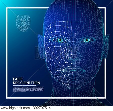 Robot Blue Eyes Android With Detailed Iris And Pupil. Facial Recognition Concept With Sensor And Fac