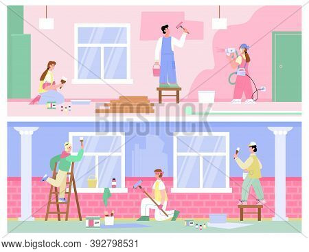 Banners Set With Teams Of Painters And Craftsmen Working, Flat Cartoon Vector Illustration. Workers
