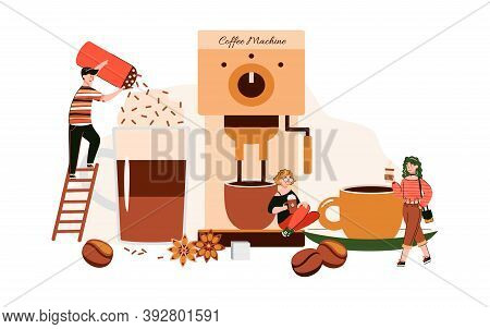 Miniature People Funny Characters In Coffee Shop Drinking And Decorating Hot Drinks And Sitting On B