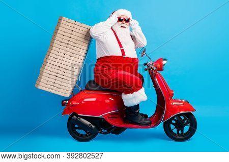 Full Length Profile Side Photo Of Stylish Modern White Grey Hair Bearded Santa Claus Drive Motor Bik