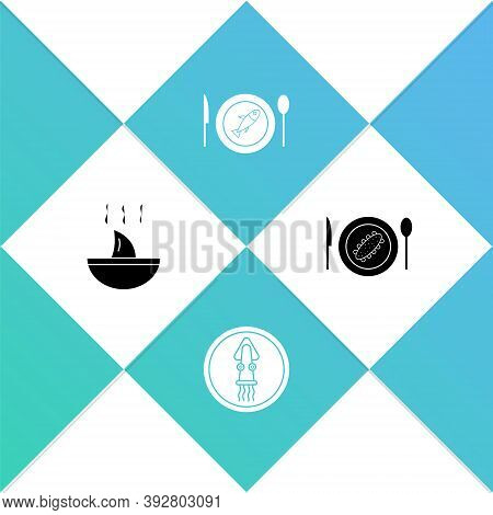 Set Shark Fin Soup, Octopus On Plate, Served Fish And Cucumber Icon. Vector