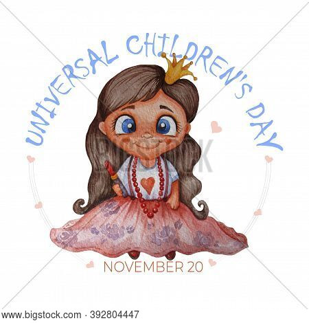 Universal Childrens Day. A Cute Princess, A Little Girl Fashionista With A Haircut And A Crown, In A
