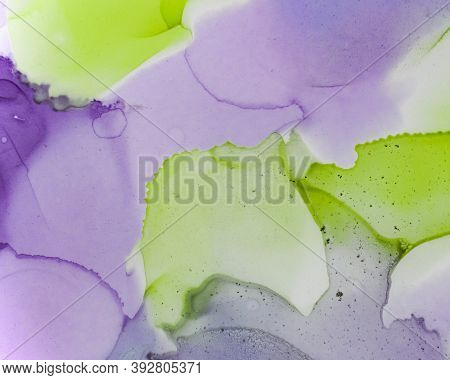 Ethereal Water Texture. Alcohol Ink Wash Wallpaper. Lilac Creative Drop Painting. Contemporary Color