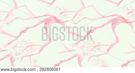 Watercolor Cherry Blossom. Seamless Sakura Wallpaper. Chinese Leaf Textile. Pink Modern Cute Texture