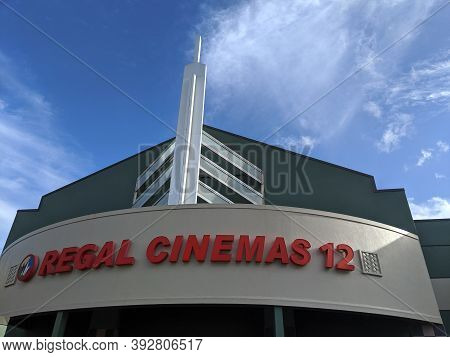 Honolulu -  October 19, 2019:  Movie Theater Marquee Of Regal Cinemas 12 Pearl Highlands With Clouds