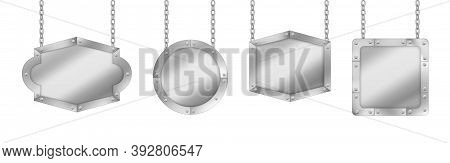 Metal Signs, Silver Colored Boards Hang On Chains. Realistic Signboards With Metallic Texture, Banne