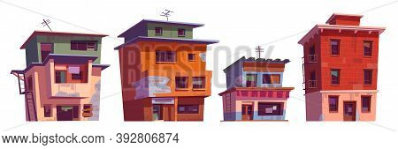 Poor Dirty Houses In Ghetto Area. Vector Cartoon Set Of Slum Old Broken Buildings, Shacks In Cheap N
