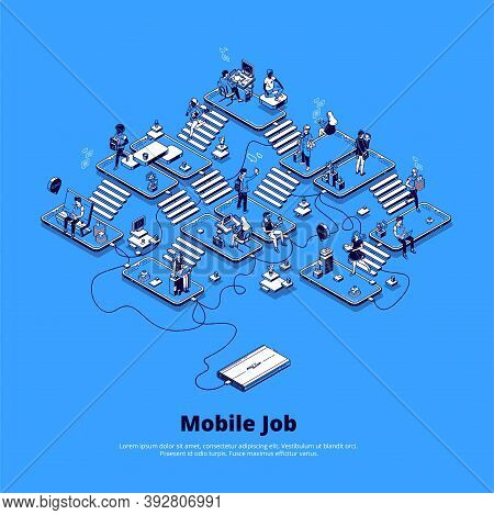 Mobile Job Banner. Concept Of Online Business Using Phone, Career In Digital Area, Mobile Marketing