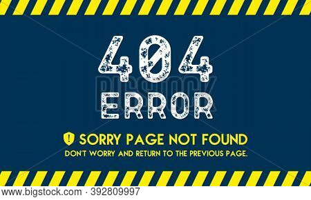 404 Error, Page Not Found In Grunge Style Made Of Vector Offroad Tire Prints. Lost Internet Connecti