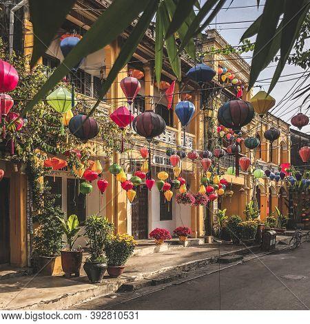 Hoi An, Quang Nam Province, Vietnam, January 25, 2020 - Hoi An street full of paper lanterns, Ancient Town, in vietnam