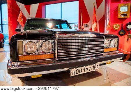 Kamensk-shakhtinsky, Russia - 25 October 2020: Black Zil 41045 Soviet Limousine