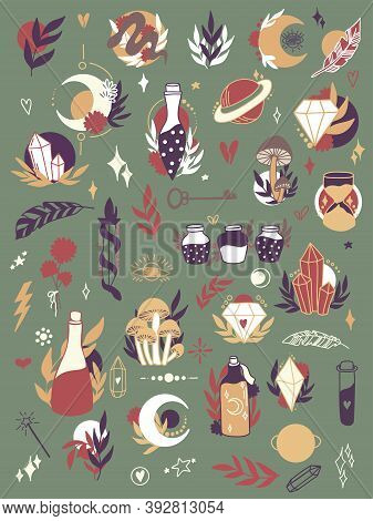Vector Magic Icons. Hand Drawn, Doodle, Sketch Magician Set. Witchcraft Symbols. Isolated Illustrati