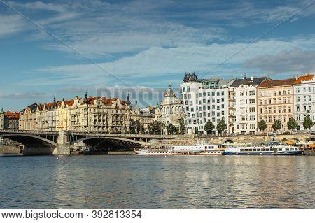 Prague, Czech Republic -september 3, 2020.amazing View Of Famous Dancing House And Rasin Embankment.