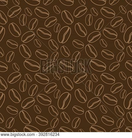 Brown Coffee Beans. Coffe Seamless Vector Pattern. Suitable For Wrapping Paper, Fabric Printing, Cof