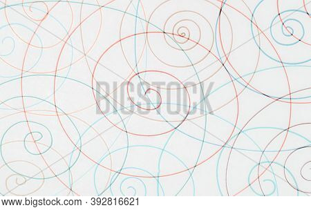 Blue Abstract Scribble Wallpaper. Random Pencil Hatching. Kid Modern Texture. Entangled Radial Patte