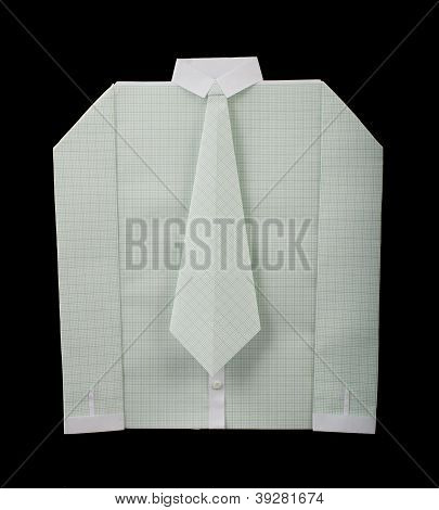 Isolated Paper Made White Shirt With Tie