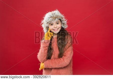 Are You Ready. Winter Holiday And Vacation. Kid In Hat With Ear Flaps. Child In Knitted Gloves And S