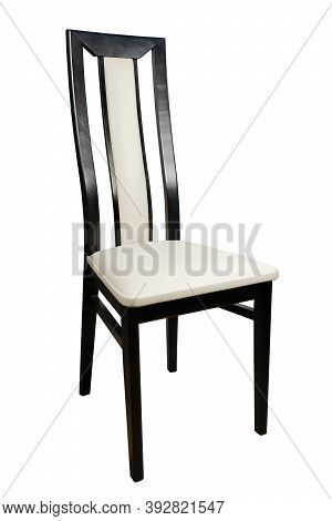 Wooden Leather Chair Isolated On A White Background
