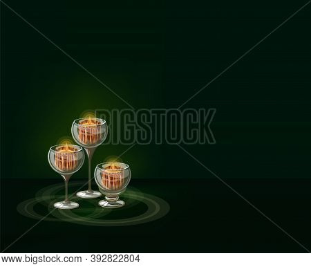 Vector Image Of Candlesticks With Burning Candles On A Noble Green Background, Perfect For Composing