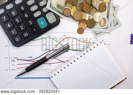 On The Financial Documents Are Dollars And Kopecks And A Calculator With A Notepad. Business Concept