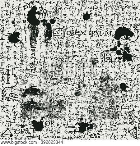 Abstract Seamless Pattern With Black Handwritten Illegible Text Lorem Ipsum, Blots And Fingerprints