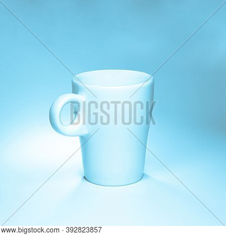 Clean Luxury Coffee Cup On Blue And White Background