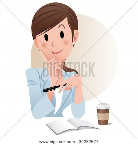 Ponytail Young Business Woman Holding A Pen While Planning Something