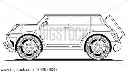 Adult Coloring Page Vector Car Illustration. Black Contour Sketch Illustrate Isolated On White Backg
