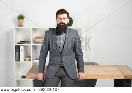 Male Fashion In Business Office. Confident Brutal Man Manager. Bearded Man Manager. Mature Hipster W