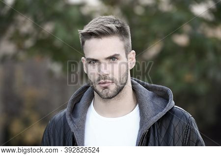 Hes Handsome. Handsome Man On Autumn Day. Caucasian Guy With Unshaven Handsome Face And Stylish Blon